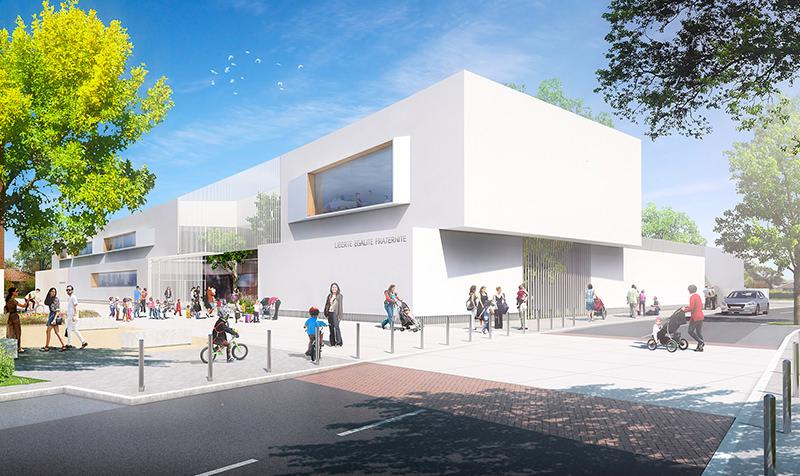 Simplicité, forme et souplesse pour une école fondatrice d'un nouveau quartier