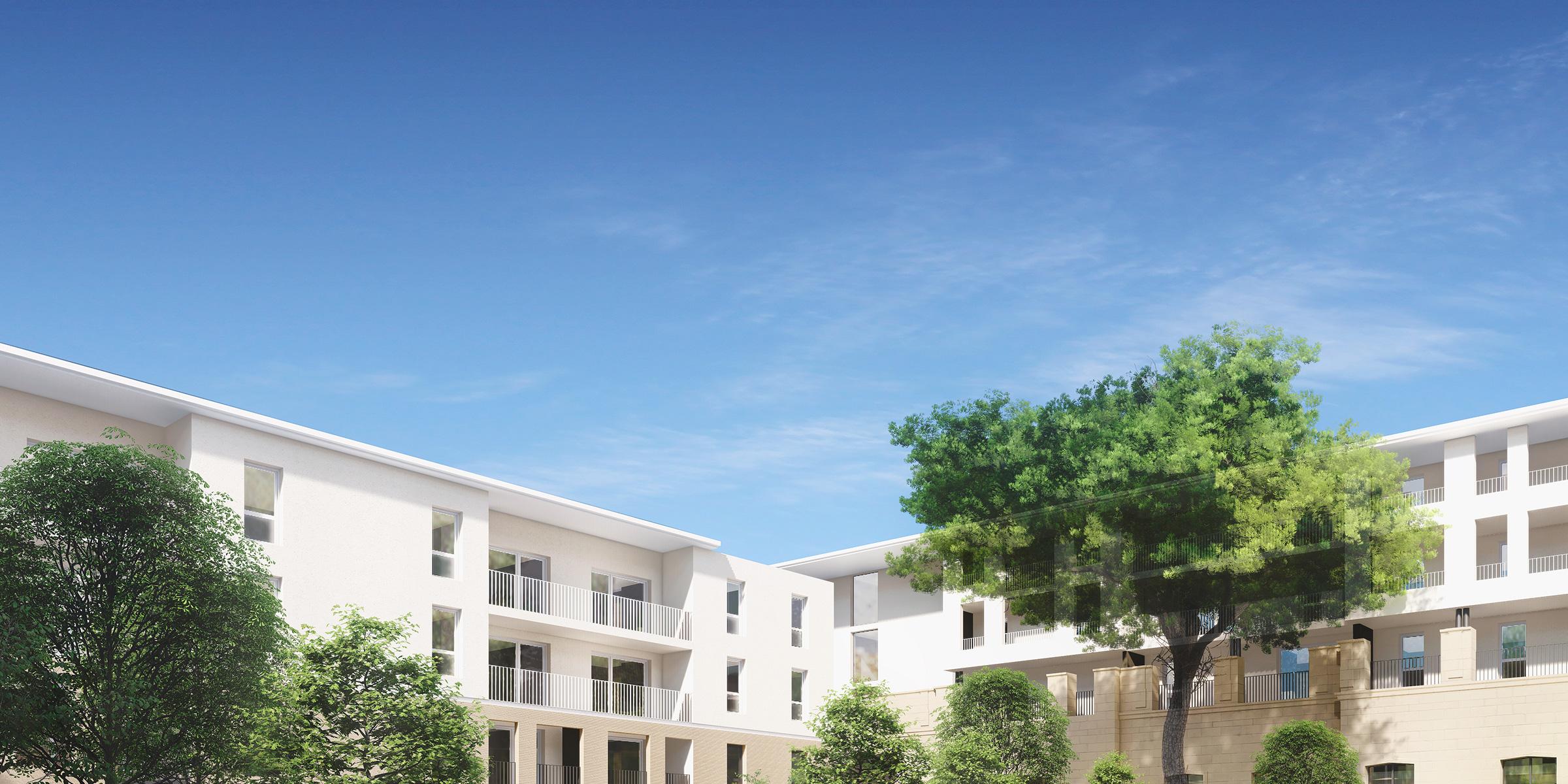 Perspective 3D du haut du bâtiment vue depuis la cours végétalisée