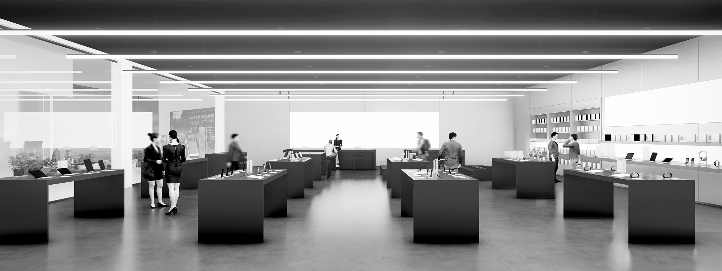 Perspective d'ensemble noir et blanc d'un réaménagement d'une boutique de St Orens