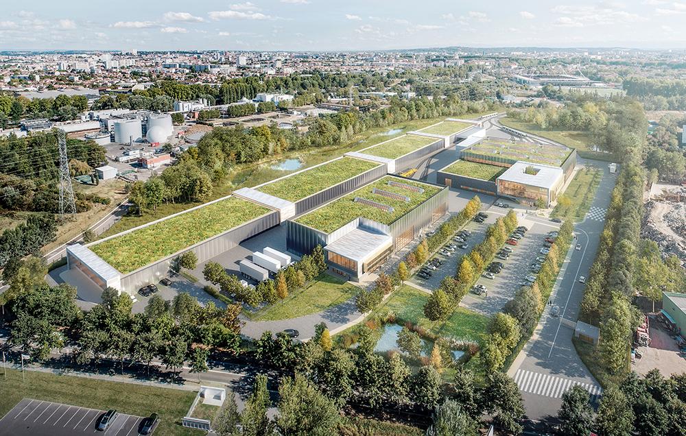Perpective 3D aérienne de Toulouse Aerospace express, plusieurs bâtiments avec une toiture végétalisée se fondent dans le paysage boisé